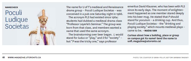 University of Toronto Magazine » Poculi Ludique Societas